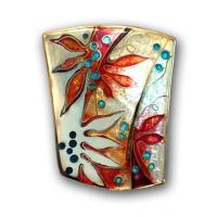 <p>Brooch &ndash; Poinciana <br />2009<br />36mm x 28mm<br />Stg and fine silver, cloisonn&eacute; and champleve enamel From a series based on poinciana leaf and flower forms.&nbsp;</p>