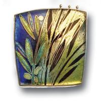 <p>Brooch &ndash; Rainforest <br />2007<br />36mm x 36mm <br />Stg and fine silver, cloisonn&eacute; enamel <br />From a series of three brooches about rainforests and the wet season.</p>