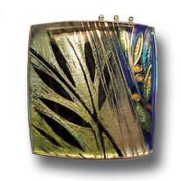 <p>Brooch &ndash; Rainforest 2007<br />36mm x 36mm<br />Stg and fine silver, cloisonn&eacute; enamel<br />From a series of three brooches about rainforests and the wet season.</p>