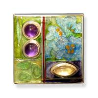 <p>Brooch &ndash; From The Garden<br />2009<br />34mm x 34mm<br />Stg and fine silver, cloisonn&eacute; and champleve enamel, amethysts and citrine<br />From a continuing series about the visual pleasures of the garden, plant forms, flowers, seeds and leaves.</p>