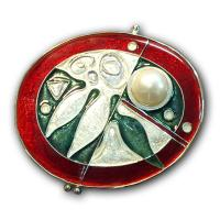 <p>Brooch - Botanica<br />2002<br />40mm x 35mm<br />Stg and fine silver, cloisonn&eacute; enamel, freshwater pearl.</p>