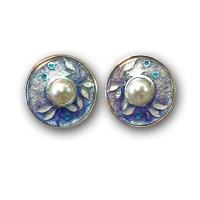 <p>Earrings<br />2009<br />20mm x 20mm<br />Stg and fine silver. cloisonn&eacute; enamel, freshwater pearls.</p>