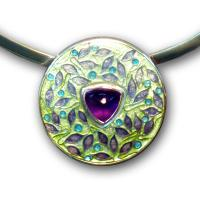 <p>Pendant<br />2010<br />30mm x 30mm<br />Stg and fine silver, cloisonn&eacute; enamel, amethyst, sterling silver neckring<br />I can also make this pendant with garnet, pink tourmaline or citrine in enamel colours to compliment the gemstone</p>