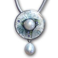 <p>Pendant<br /> 2010<br /> 25mm x 25mm<br /> Stg and fine silver, cloisonn&eacute; enamel, freshwater pearls, sterling silver snake chain</p>