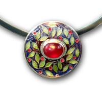 <p>Pendant<br />2010<br />25mm x 25mm<br />Stg and fine silver, cloisonn&eacute; and champleve enamel, ruby, sterling silver neck ring</p>