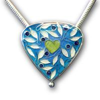 <p>Pendant<br />2009<br />30mm x 30mm<br />Stg and fine silver, cloisonn&eacute; enamel, sterling silver snake chain</p>