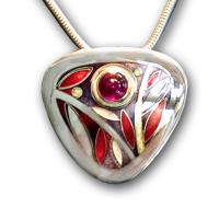 <p>Pendant<br />2010<br />30mm x 30mm<br />Stg and fine silver, cloisonn&eacute; and champleve enamel, garnet<br />I also make this pendant with pink tourmaline, citrine, peridot or amethyst and enamel colours to compliment the gemstone.</p>