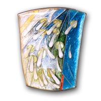 <p>Brooch<br />Blue Sky Warm Rain<br />2007<br />30mm x 37mm&nbsp;&nbsp; &nbsp;&nbsp;&nbsp; &nbsp;&nbsp;&nbsp; &nbsp;&nbsp;&nbsp; &nbsp;&nbsp;&nbsp; &nbsp;&nbsp;&nbsp;&nbsp;&nbsp;&nbsp;&nbsp;&nbsp;&nbsp;&nbsp;&nbsp;&nbsp; &nbsp;<br />Stg and fine silver, cloisonn&eacute; and champleve enamel<br />Summer in the semi-tropics.</p>