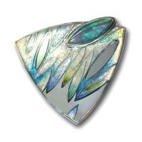 <p>Brooch<br />2010<br />43mm x 43mm<br />Stg and fine silver, cloisonn&eacute; and champleve enamel<br />A brooch emulating the cool blues amd greens in the beautiful Andamooka marquis cut opal.&nbsp;&nbsp;</p>