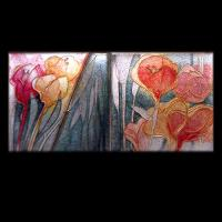 <p>Framed Miniature<br />Leaves Of Glass, Spring <br />2001<br />120mm x 60mm (320mm x 250mm framed)<br />Cloisonne enamel on fine silver<br />From a series based on the springtime garden of day lillies</p>