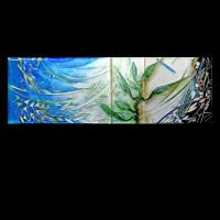 <p>Framed Miniature<br />Spring Wind<br />2008<br />180mm x 60mm (400mm x 290mm framed)<br />Cloisonne enamel on fine silver<br />A miniature about pollination, germination and reproduction in plants.</p>