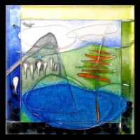 <p>Framed Miniature <br />Landscape With Water <br />2008<br />60mm x 60mm (320mm x 260mm framed)<br />Cloisonne enamel on fine silver<br />From a series of three.&nbsp; Made in the time of drought in Australia. Wishful thinking for green hills and water.</p>