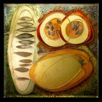 <p>Framed Miniature<br />Fruit and Seeds<br />2008<br />60mm x 60mm (320 x 260 framed)<br />Cloisonne enamel on fine silver<br />From a series about food and seeds.</p>