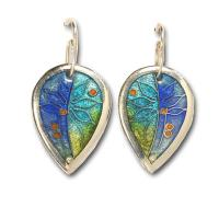 <p>Earrings<br />2012<br />27mm x 18mm<br />Stg and fine silver. cloisonn&eacute; and champleve enamel</p>