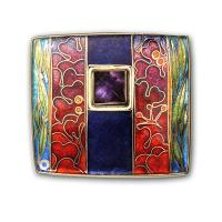 <p>Brooch<br />2012<br />38mm x 33mm<br />Stg and fine silver, cloisonne enamel, square cut amethyst</p>