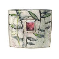 <p>Brooch<br />2013<br />38mm x 32mm<br />Sterling and fine silver, cloisonne enamel, square tourmaline</p>